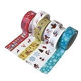Healifty 6 rotoli di nastri di carta washi set largo nastro adesivo elemento natalizio motivo cartoon adesivi decorativi confezione regalo fascia per fai da te festa di natale bomboniere regali