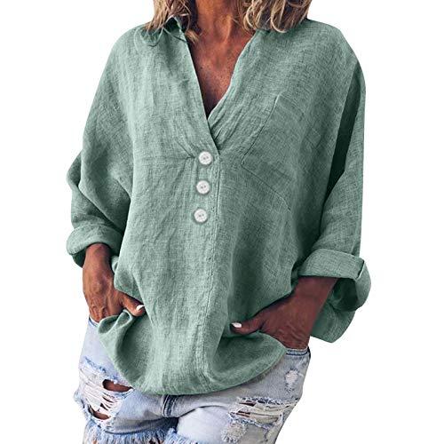 HWTMKJ Blusa de lino de manga larga para mujer, casual, cuello en V, de algodón, suelta, talla grande, túnica