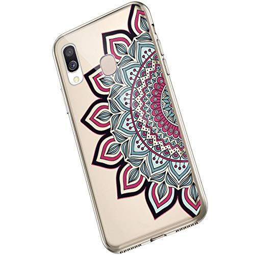 Saceebe Compatible avec Samsung Galaxy A40 Coque Fleur Mandala Clair Design Motif Silicone Transparent TPU Souple Housse de Protection Ultra Mince Slim Léger Antichoc Étui,Fleur Rouge