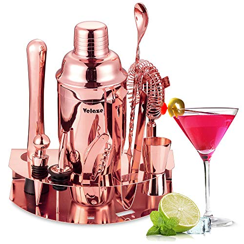 Velaze 10-TLG Cocktail Shaker Set, Edelstahl Cocktail Mixer für Zuhause Bar, Gold