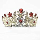 GDLQ Rubí Rubí Tiara Tiara Vintage Leaf Princess Queen Crown Oro Barroco Crown y Tiara Diadema para la fiesta de bodas Dama de honor de la fiesta de novia Bridal Disfraz de Halloween Navidad Accesorio