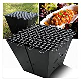 WGFGXQ Portable Barbecues Grills,Electroplated Folding Picnic Grill,Outdoor Fire Pits Thickened Silver Chrome Cooking Net Fire Pits for Garden for Garden,Terrace,Camping