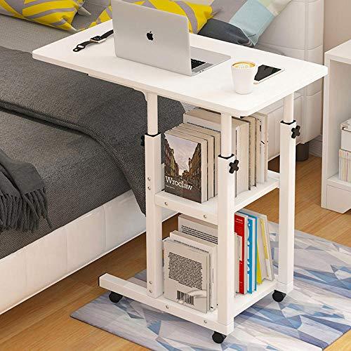 TTXP Eisenrahmen Schreibtisch mit White Density Board,Höhenverstellbar, Abschließbare Rollen,Kinderschreibtisch Höhenverstellbar für Hospital Home Office Study