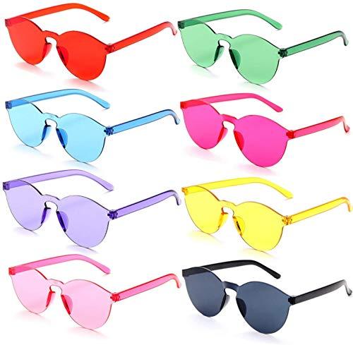 FSMILING 8er Bunte Rund Sonnenbrille Lustige Randlos Transparent Farbige Party Brille Für Karneval/Fasching (8er Bunte Rund Sonnenbrille Set)