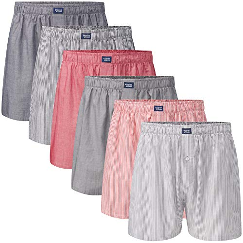 Charles Wilson 6er Packung Gewebte Boxershorts (Large, Stripe and Plain 43)