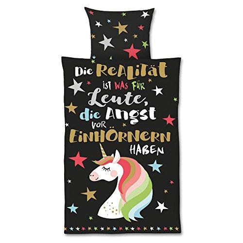 Die Geschenkewelt 45123 Happy Life Bettwäsche Einhorn, Baumwolle, Bezug 135 cm x 200 cm, Kopfkissen 80 cm x 80 cm, 2-Teilige Garnitur, Schwarz
