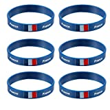 LUOEM Frankreich Land Silikon Armband 2018 Welt Cup Sport Fußball Armband für Russland 2018 FIFA WM-Party 6 STÜCKE (Frankreich)