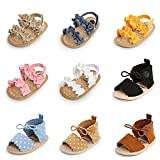 Meckior Infant Baby Girls Boys Summer Sandals Open Toe Lace Princess Dress Wedding Flats Shoes Newborn Toddler Soft Non-slip Sole First Walker Crib Shoes