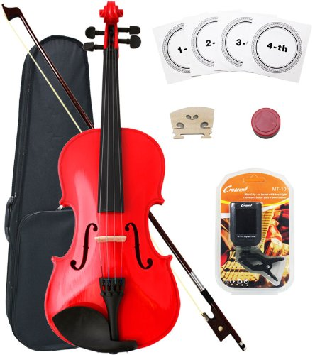 Crescent 3/4 Red Maple Wood Acoustic Violin with Case, Rosin, and Bow