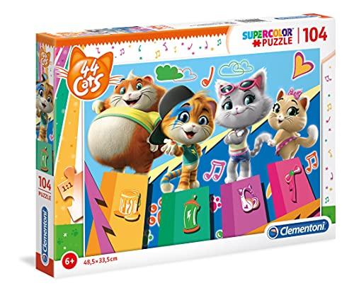 Clementoni- Supercolor Puzzle-44 Gatti-104 Pezzi, Multicolore, 27271