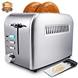 Toaster 2 Slice - Toasters Toast Evenly And Quickly With Perfect Bagel Defrost Cancel Function - Toasters 2 Slice Best Rated Prime - Cool Touch Stainless Steel Compact Bread Toaster With Two Wide Slots