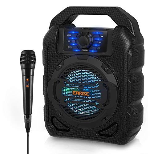 EARISE T15 Tragbarer Karaoke-Lautsprecher für Kinder & Erwachsene, PA-System Bluetooth-Lautsprecher mit Beleuchtung, kabelgebundenem Mikrofon, FM-Radio, unterstützt TF-Karte/USB, AUX-IN