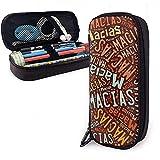 Macias - American Nachnamen Hochleistungs-Federmäppchen aus Leder Bleistift Stift Schreibwarenhalter Organizer Office Make-up Stift Student Schreibwaren Tasche