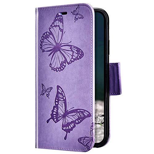 Uposao Kompatibel mit Samsung Galaxy S9 Plus Hülle Vintage Dünne Handyhülle Schmetterling Muster Flip Brieftasche Schutzhülle Karte Halter Leder Hülle Case Ledertasche Ständer Klapphülle,Lila