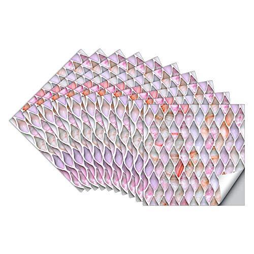 Pegatinas de Baldosas Pared Cocina e Baño Azulejos Adhesivos Jade Gota de Agua Vinilos Pegatinas de Decorativo de Muebles 10 Piezas 20x20cm, Rose-Mauve