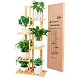 Leepes Plant Stand Rack Bamboo 5 Tier 6 Potted Indoor Outdoor Multiple Flower Pot Holder Shelf Display Shelving Unit for Patio Garden Living Room Corner Balcony