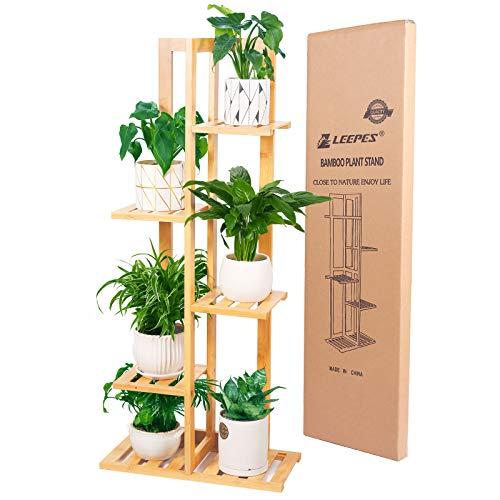Bamboo Plant Stand Rack 3 Tier Indoor&Outdoor Multiple Flower Pot Holder Shelf Planter Display Shelving Unit for Patio Garden, Living Room, Corner Balcony and Bedroom (6 Flowerpots)