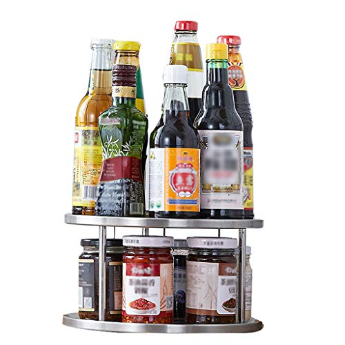 2-tier Spinning Spice Rack Holder keukenkast Counter Top Organizer opslagcontainer draaiplateau partitie boord 180 Degree Spice Stand