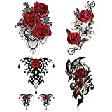 Jukre 4PCS 3D Large Rose Flower Pearl Body Sexy Art Temporary Stickers Tattoo New, Flower Red Rose Temporary Tattoos, Small Flower Stick On Tattoo, Waterproof Tattoos for Women Long Lasting