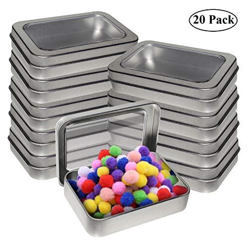 Kurtzy Cajas Metalicas Pequeñas (Pack 20) Latas de Aluminio Tapa Transparente sin Bisagra - 9cm x 6cm x 2cm - Latas Vacías para Cosméticos, Especias, Tarjeta SD, Abalorios, Monedas, Joyas, Dulces