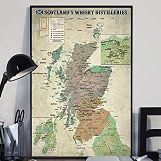 #Scotland Whisky Distilleries Map - Cigars Lovers #Club Poster Home Art Wall Art Posters Prints Livingroom Kitchen-Room No Framed (24x36)