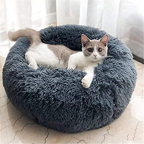 Neekor Cat Dog Beds, Soft Plush Donut Pet Bedding Winter Warm Sleeping Round Fluffy Pet Calming Bed Cuddler for Puppy Dogs/Cats, Size: Small/Medium/Large (Dark Grey/Medium)