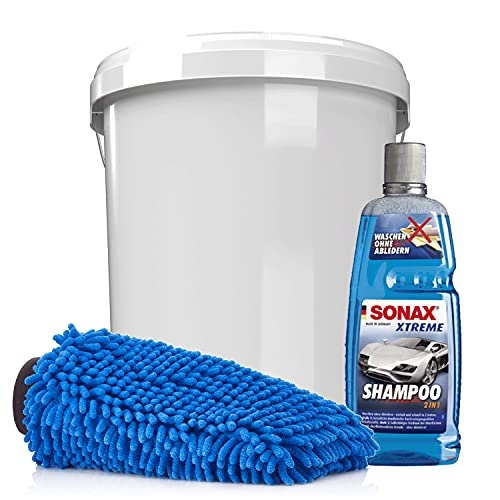 detailmate Juego de lavado para coche y moto Sonax 2 en 1, champú 1 L, cubo de lavado con tapa y guante de microfibra de chenilla