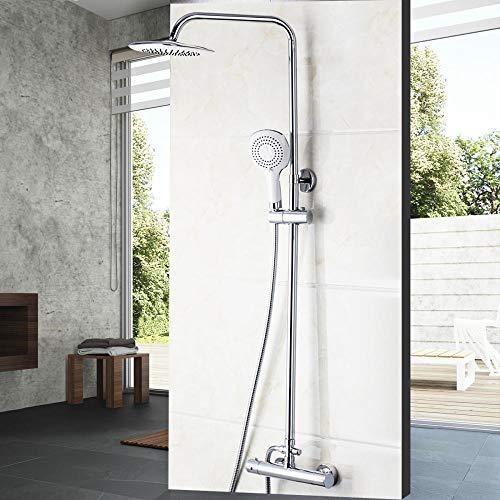 Gnailur Baño de lluvia con ducha Grifos montados en la pared Conjunto de acero inoxidable Spray superior con ducha de mano ABS Ducha termoóstática