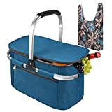 Tirrinia Large Insulated Picnic Basket, 26L Leakproof Collapsible Portable Cooler Basket Set with Aluminium Handle for Travel, Shopping, Camping, Attach with a Free Foldable Grocery Bag, Blue