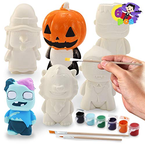 JOYIN Halloween Squishy Coloring Craft Kit with 6 Different Characters, 3 Paints and Paint Tubs. Art & Craft Kit DIY Toy Set Make Your Own Halloween Squishy Friends.