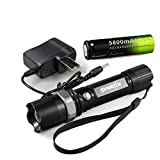 Glumes Sky Wolf Eye LED 3 Modes T6 LED 6000 Lumens Waterproof Rechargeable 18600 Battery Flashlight Torch, Durable Aluminum Alloy, with 18650 Battery and Charger (Black)