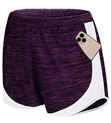 Koscacy Basketball Shorts for Women,Running Athletic Gym Yoga Shorts Comfy Color Block Petite Clothes Teen Girls Summer Quick Dry Pants Loungewear Fitness Purple Small