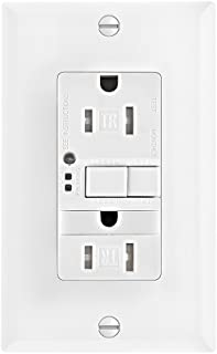 Eaton GFCI Self-Test 15A -125V Tamper Resistant Duplex Receptacle with Nightlight & Standard Size Wallplate, White