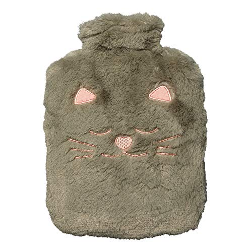 Toga Chat gris – Bolsa de agua caliente de peluche con funda de piel sintética, 100 % poliéster, de uso fácil, reutilizable al infinito, para llevar a cualquier parte.
