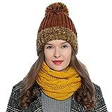 Bufanda de invierno tipo cuello suave y cálida para mujer con diseño de punto - Amarillo
