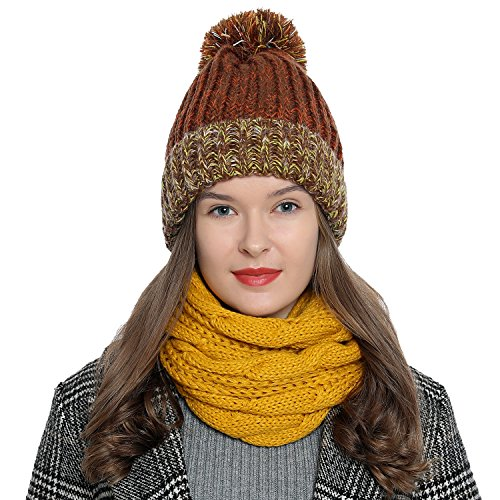 DonDon Damen Winter Schlauchschal warm und weich Strickmuster gelb