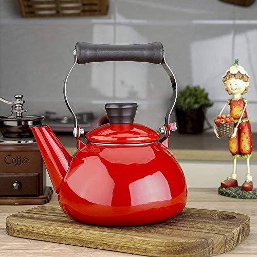 Hervidor De Esmalte Estilo Japonés Tetera De Porcelana Esmaltada Originalmente Tetera Maceta Tetera De Agua Fría Tetera 1.5L-Rojo