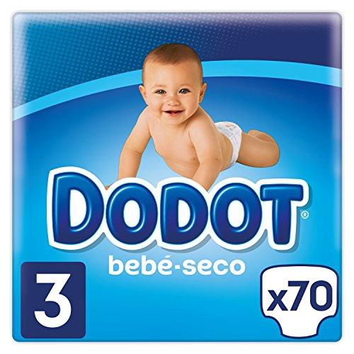 Dodot Bebé-Seco Pañales Talla 3, 70 Pañales, el unico Pañal con canales de Aire, 6 a 10 kg