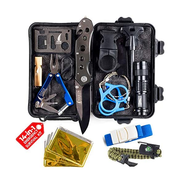 Corona Virus protection products Survival Kit Tactical Camping Gear 14 in 1 Backpack Hiking Outdoor Gifts for Men