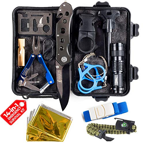 Survival Kit Tactical Camping Gear 14 in 1 Backpack Hiking Outdoor Tools for Men and Women - Car Emergency EDC - SOS Earthquake Kit Disaster Preparedness