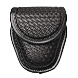 ROCOTACTICAL Basketweave Single Handcuff Case, Hidden Snap Handcuff Holder Pouch, Molded Single Cuff Case