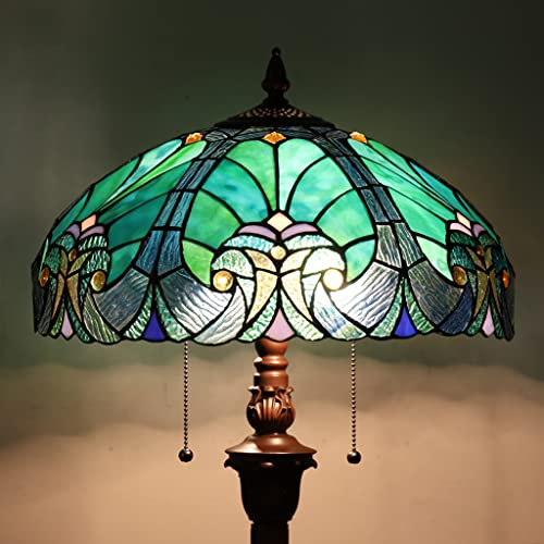 Cotoss Tiffany Floor Lamp,Stained Glass Lamp Shade,Vintage Antique Style Standing Double Light for...