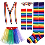 BESTOYARD Regenbogen Kostüm Sets Tutu Rock Fliege Hosenträger Lange Socken Handschuhe Cosplay...