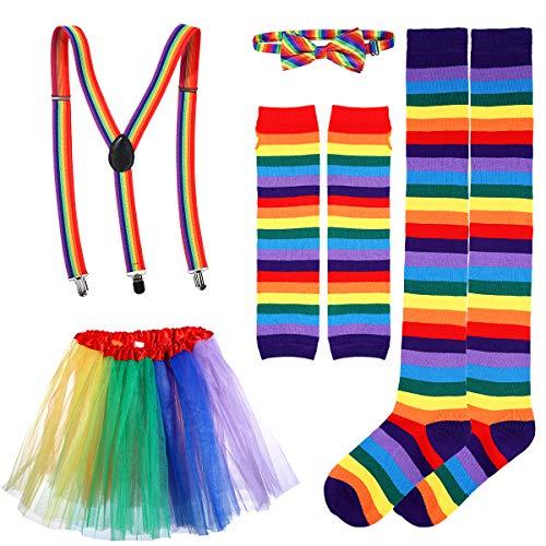 BESTOYARD Regenbogen Kostüm Sets Tutu Rock Fliege Hosenträger Lange Socken Handschuhe Cosplay Party Kostüm für Erwachsene 7 Stück (Bunt)