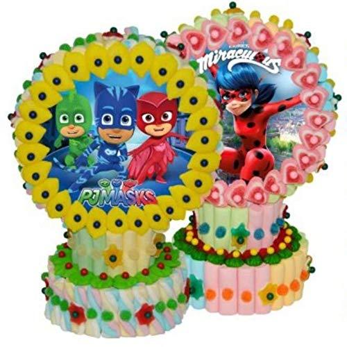Original Tarta Decorativa de Golosinas Surtidas con ObleaSurtida. Caramelos y Dulces Juguetes y Regalos Baratos para Fiestas de Cumpleaños, Bodas, Bautizos, Comuniones y Eventos.(Ladybug)
