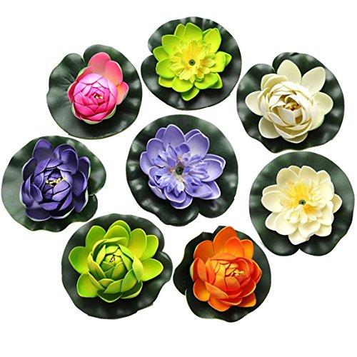 FQTANJU Foam Water Lily Flower Decor Artificial Floating Pond Plants Multicolor (8 Pieces/1.5 h x 4 Dia)