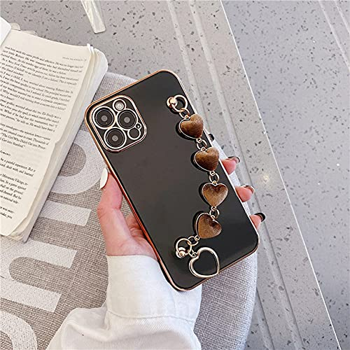 Estuche galvanizado 3D para iPhone 11 12 Pro MAX Mini X XR XS MAX 7 8 Plus Estuche Protector Corazón de Felpa Pulsera de Tela Soporte de Mano, Negro, para iPhone XS MAX