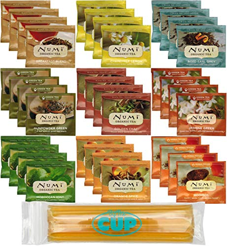Numi 36 Count, 9 Flavor, Organic Tea Bag Sampler with By The Cup Honey Sticks