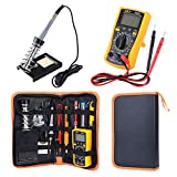 ENJOHOS Kit de Soldado, Eléctrico Soldador Kit Soldador Set Temperatura Ajustable 60W Herramienta de Soldadura con Digital Multimeter