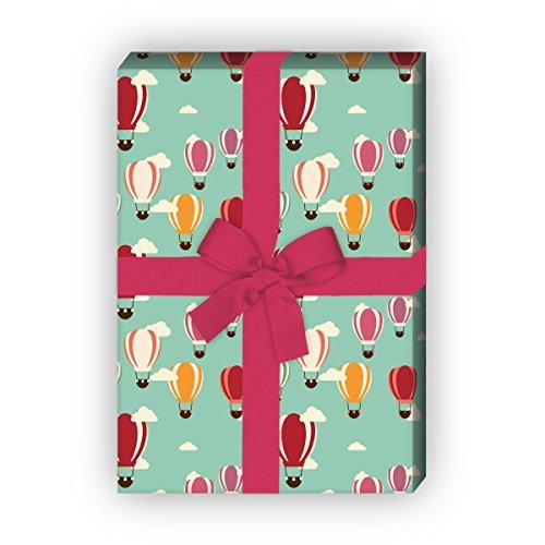 Kartenkaufrausch Wunderschönes Geschenkpapier Set mit Heißluftballons, grün, für liebe Geschenkverpackung, zum Einpacken, DIY Projekte, Basteln, 4 Bogen, 32 x 48cm